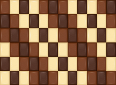 Seamless Pattern. Realistic Chocolate Bar Pieces. Milk, Dark, White 矢量图像