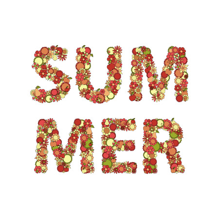 movable: Summer Lettering Made Of  Flowers, Fruits, Leaves, Doodles. All The Elements Are Movable And Editable.