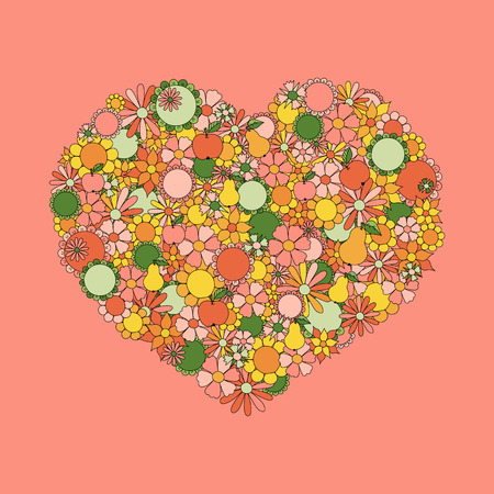 movable: Heart Made Of  Flowers, Fruits, Leaves, Doodles. All The Elements Are Movable And Editable. Illustration