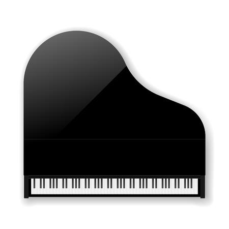 teclado: Negro cl�sico de piano de cola. Vectores