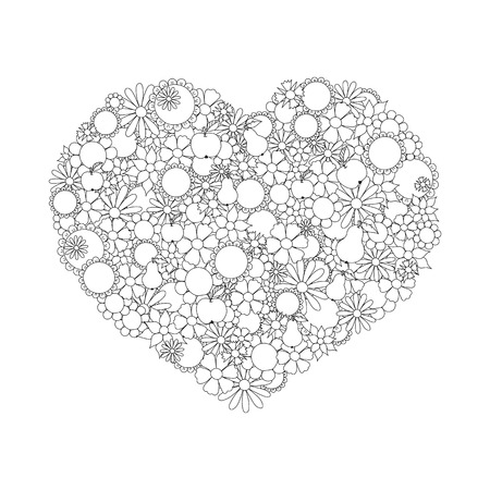 movable: Heart Made Of  Flowers, Fruits, Leaves, Doodles. Page For Coloring Book. All The Elements Are Movable And Editable.