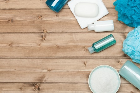 aromatherapy: Spa Kit Top View. Shampoo, Soap Bar And Liquid. Shower Gel. Aromatherapy Salt.