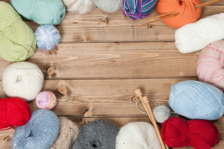 Knitting Accessories. Yarn Balls. Wooden Knit Needles. Copy Space