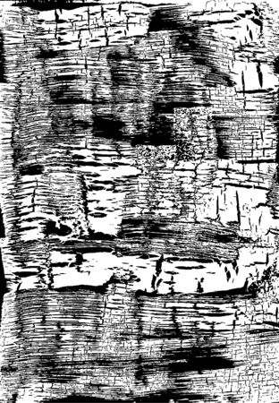 craquelure: Cracked Grunge Texture. Weathered Messy Background. Black And White. Vector Illustration