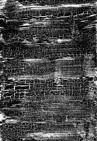Cracked Grunge Texture. Weathered Messy Background. Black And White. Vector