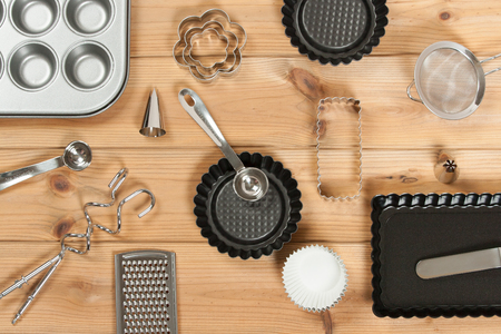 Bakery Utensils. Baking Kit. Kitchen Tools. Top View