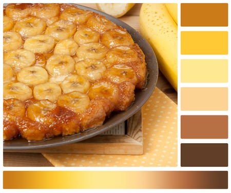 complimentary: Traditional Homemade Banana Caramel Pie. French Tart Tatin. Palette With Complimentary Colour Swatches