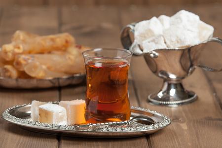 Turkish Delight. Hot Tea. Persimmon. Silver Dish