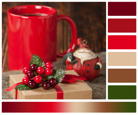 complimentary: Gift Box. Mug Of Hot Coffee Or Tea. Christmas Decorations. Palette With Complimentary Color Swatches Stock Photo