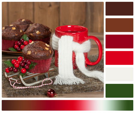 Gift Box. Mug Of Hot Coffee Or Tea. Christmas Decorations. Palette With Complimentary Color Swatches Stock Photo