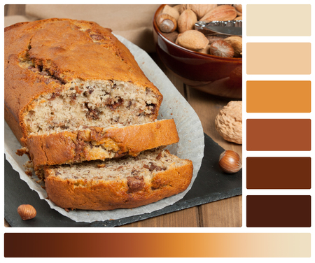 complimentary: Homemade Banana Cake With Nuts And Chocolate. Palette With Complimentary Color Swatches Stock Photo
