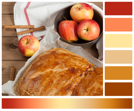 Homebaked Pie With Apple And Chocolate Parts. Palette With Complimentary Color Swatches