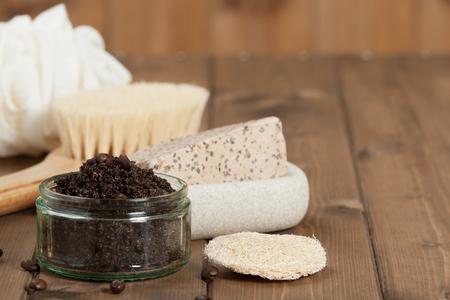 productos de aseo: Hecho a mano de café Scrub con aceite de coco. Artículos de higiene, Spa Set