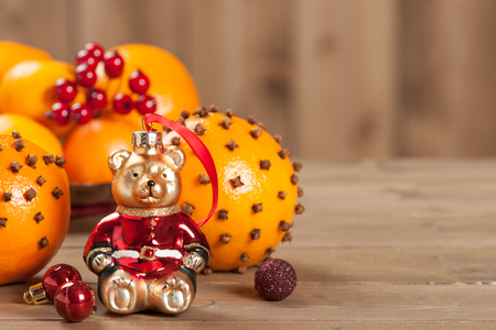 Pomander Oranges With Clove And Spices. Christmas Tree Bear Toy Stock Photo