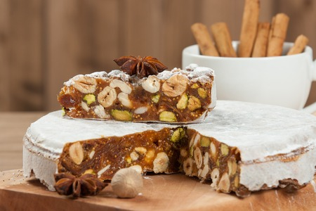 Homebaked Panforte Made Of Hazelnut, Pistachio, Cashew Nuts, Figs, Honey, Spices