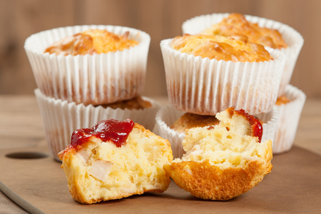 Homebaked Ham And Cheese Muffins In Paper Cases. Ketchup