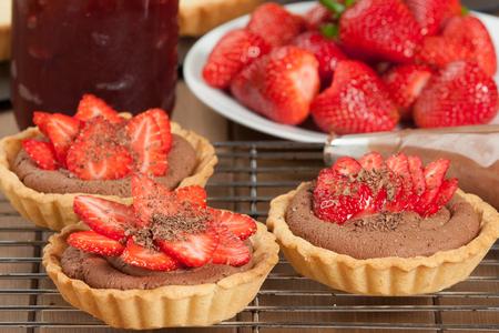 ganache: Homebaked Strawberry Tartlets With Ganache. Decorated