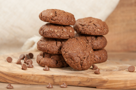 Home Baked Oat Cookies With Chocolate Stock Photo