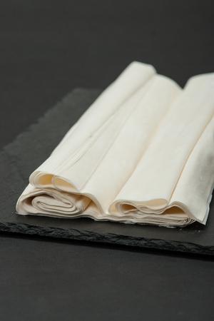 Raw Phyllo Dough Sheets. Thin Filo Puff Pastry Stock Photo