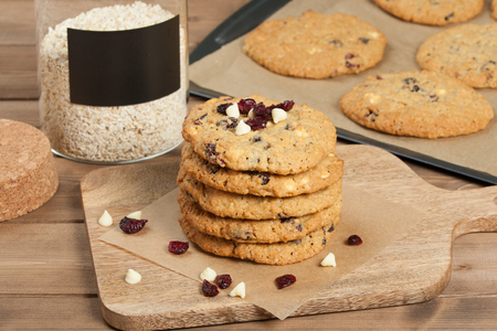 biscuits: Home Baked Oatmeal Cookies With White Chocolate And Cranberries