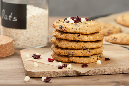 Home Baked Oatmeal Cookies With White Chocolate And Cranberries