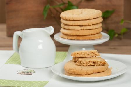 punto de cruz: Galletas de mantequilla de maní caseras. Estera de almuerzo hecha a mano de punto de cruz