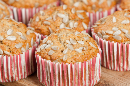 Home Baked Super Food Muffins With Sunflower Seeds, Banana, Oats