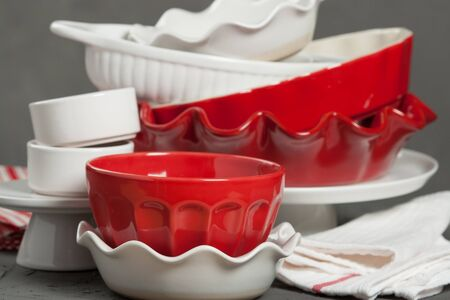 Ceramic Bakeware, Ovenware. Bakery Kit. Ruffled Pie Dish