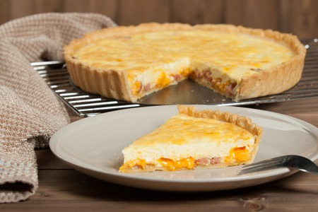 Homebaked Quiche Lorraine With Red Leicester Cheese. Traditional British Food Stock Photo