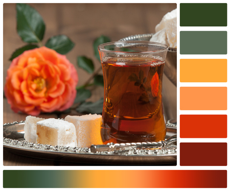 Turkish Delight. Hot Tea. Persimmon. Silver Dish. Palette With Complimentary Color Swatches