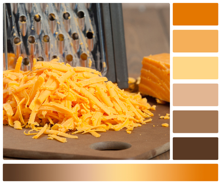 Grated Red Leicester Cheese. Grater. Cooking Ingredient. Palette With Complimentary Color Swatches