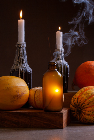 Autumn Concept. Pumpkins On Dark Moody Background.