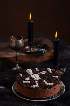 Halloween Chocolate Mousse Cake With Chocolate Skeleton