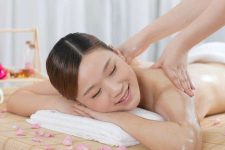 A young woman enjoy massage  photo