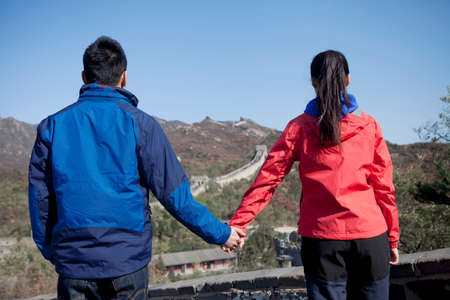 Young couples in the Great Wall tourism map