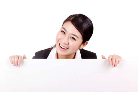 Businesswoman with a white board Imagens