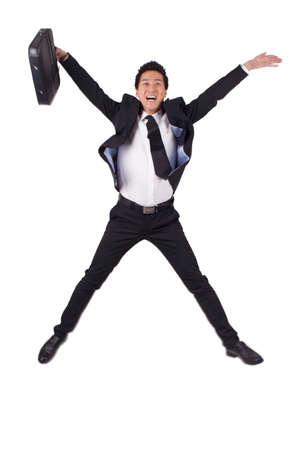 Senior Businessman jumping with joy
