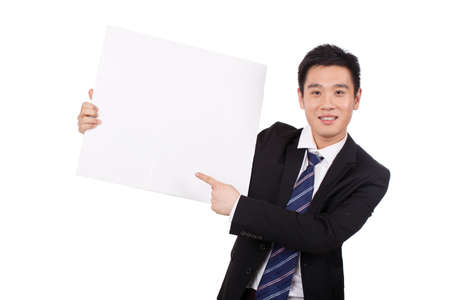 Asian Businessman Holding a Blank Sign Banco de Imagens