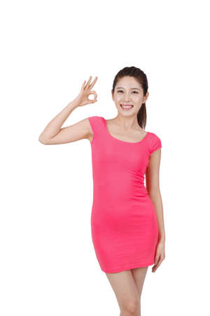 Young woman in pink dress,portrait