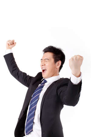 Businessman excited about his success in front of white background