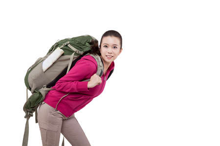 Portrait of young female carrying backpacker