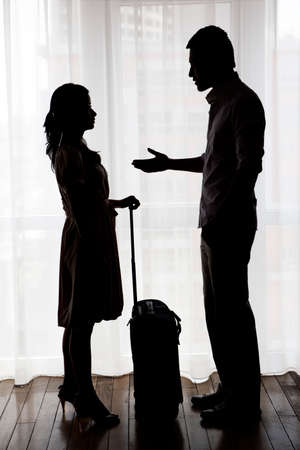 Troubled couple silhouette