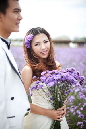 Romantic Lavender wedding couple