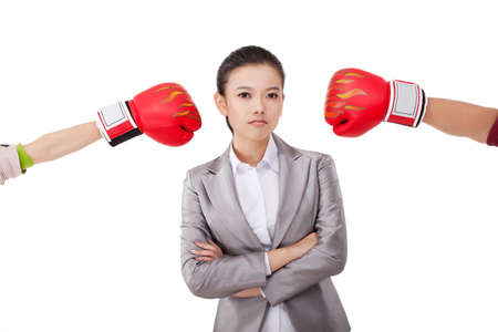 Business female with opponents. Stock Photo