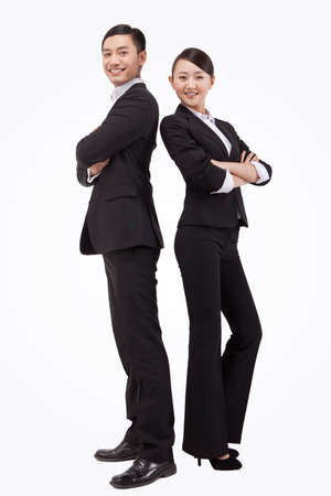 Young business man and woman portrait