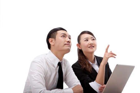 Business people using laptop Stock Photo