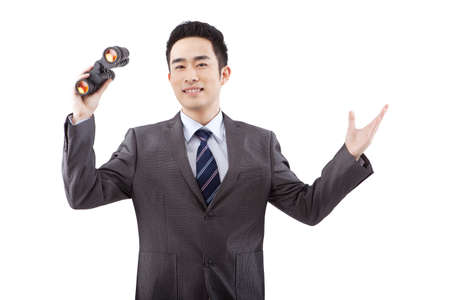 Business people and portable telescope
