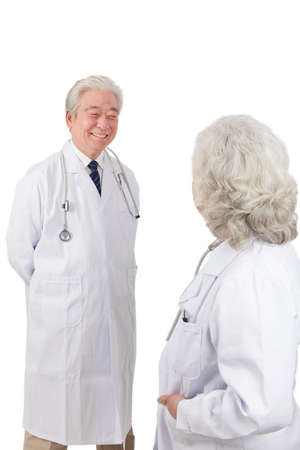 Standing portraits of two elderly senior doctors high quality photo