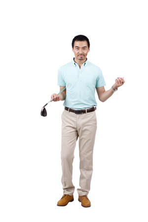 Young man wearing a suit and golfing high quality photo
