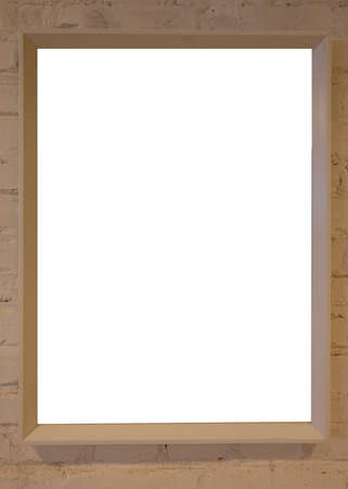 A blank picture frame in the exhibition room high quality photo Zdjęcie Seryjne